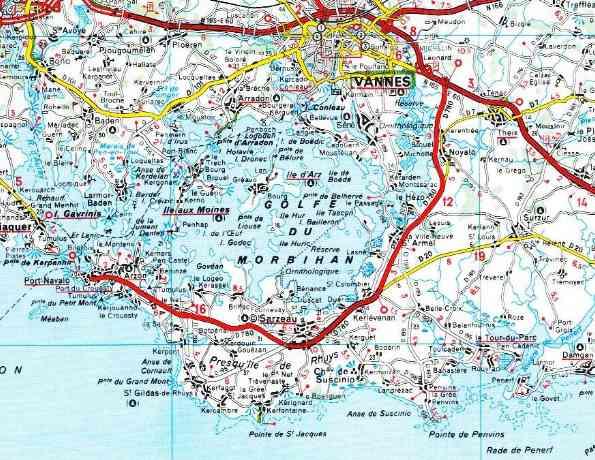 presqu île de rhuys carte carte